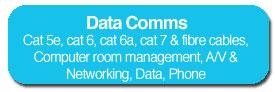 Cat 5e, cat 6, cat 6a, cat 7 & fibre cables, Computer room management, A/V & Networking, Data, Phone
